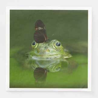 Green Frog and Butterfly Disposable Napkin