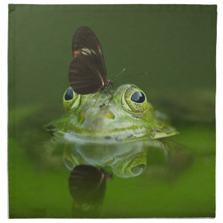 Green Frog and Butterfly Napkin