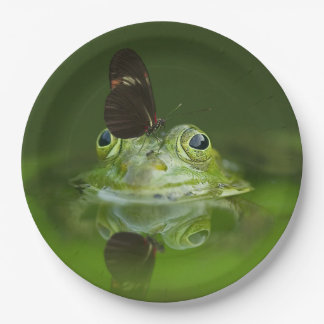 Green Frog and Butterfly Paper Plate