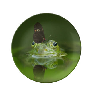 Green Frog and Butterfly Plate
