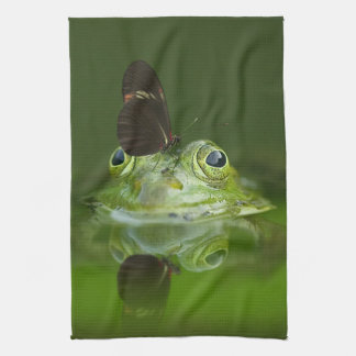 Green Frog and Butterfly Tea Towel