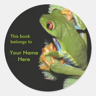 Green Frog Bookplate Sticker