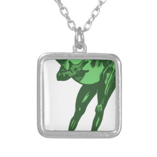 Green Frog Bowing Silver Plated Necklace