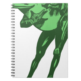 Green Frog Bowing Spiral Notebook