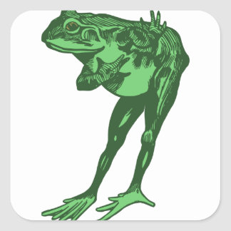 Green Frog Bowing Square Sticker