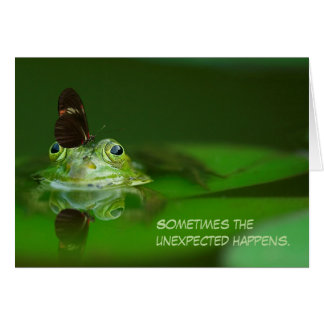 Green Frog Butterfly Encouragement Greeting Card
