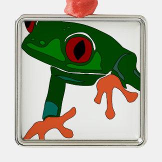 Green Frog Cartoon Metal Ornament