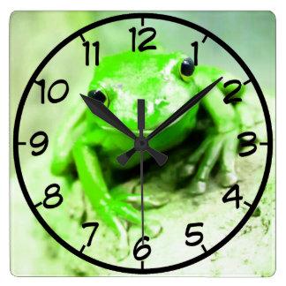 green frog clocks