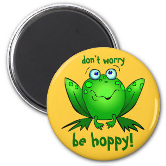 Green Frog Dont Worry Be Hoppy Orange Magnets
