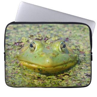 Green frog in duckweed, Canada Laptop Sleeve