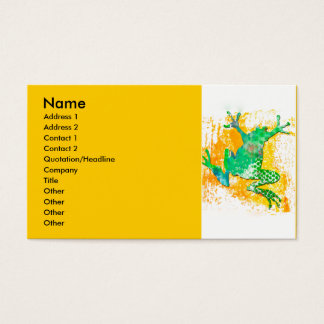 Green Frog Jumping Business Card