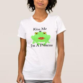 Green Frog Kiss Me I'm A Princess Tee Shirts