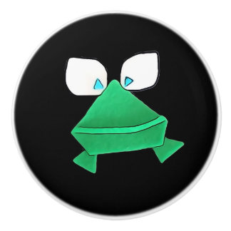 Green Frog on Black Ceramic Knob