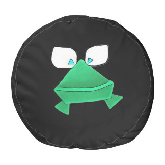 Green Frog on Black Round Pouf
