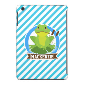 Green Frog on Lilypad; Blue & White Stripes iPad Mini Cases