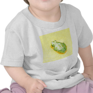 Green frog on yellow background watercolour t-shirts