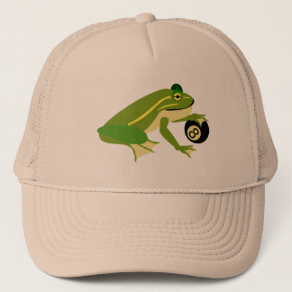 Green Frog Palming an Eight Ball Trucker Hat