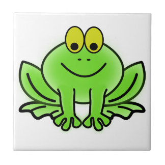 Green frog small square tile