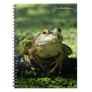 Green Frog Strikes a Pose on the Hose Spiral Note Book