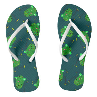 green frog texture thongs