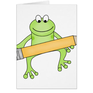 Green Frog with Pencil Card