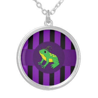 Green Frog with Pumpkin & Purple Stripes Round Pendant Necklace