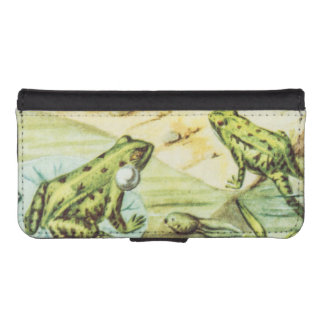 Green Frogs, Animal Illustration iPhone SE/5/5s Wallet Case