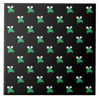 Green Frogs on Black Ceramic Tile