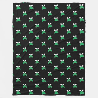 Green Frogs on Black Fleece Blanket