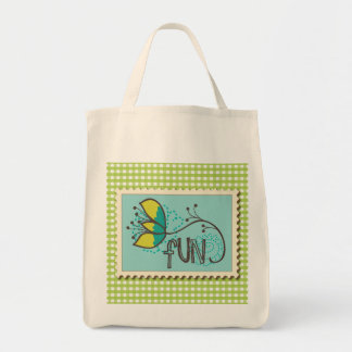 Green Fun Stamp with Gingham Grocery Tote Grocery Tote Bag