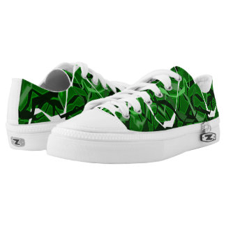 Green Funky Abstract Waves Shoes Printed Shoes