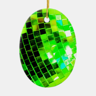 Green Funky Disco Ball Ceramic Ornament