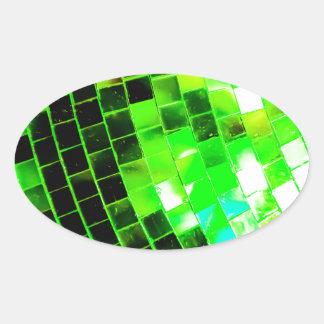 Green Funky Disco Ball Oval Sticker