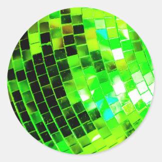 Green Funky Disco Ball Round Sticker