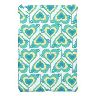 Green Funky Hearts Pattern iPad Mini Cases