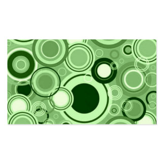 Green Funky Retro Circles Pattern Business Cards