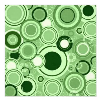 Green Funky Retro Circles Pattern Custom Announcements