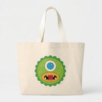 Green funny monster jumbo tote bag