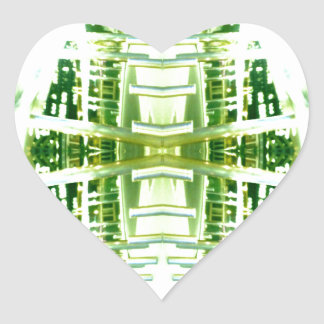 Green Futuristic Light Groove Heart Sticker