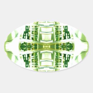 Green Futuristic Light Groove Oval Sticker