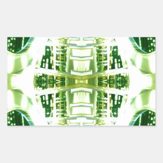 Green Futuristic Light Groove Rectangular Sticker