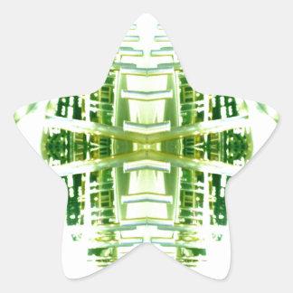 Green Futuristic Light Groove Star Sticker