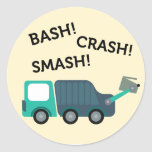 Green Garbage Truck Birthday Party Stickers