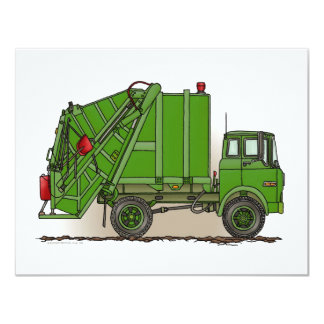 Green Garbage Truck 4.25x5.5 Paper Invitation Card