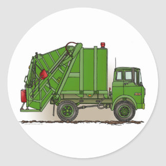 Green Garbage Truck Round Sticker
