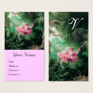 Green Garden,Pink Rococo Lady on Swing Monogram Business Card
