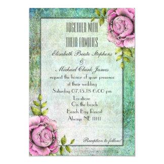 "Green Garden Rose: Semi-Gloss 5"" x 7"" - Wedding 13 Cm X 18 Cm Invitation Card"