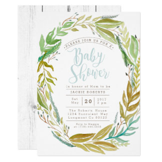 Green Garden | Watercolor Baby Shower Invite
