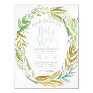 Green Garden   Watercolor Baby Shower Magnetic Magnetic Invitations