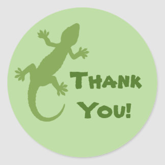 Green Gecko Thank You Classic Round Sticker